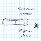 La linea disegnata a mano cosmetici di arte sul taccuino incarta il fondo Ombra del sopracciglio disegnata con una penna Immagine Stock