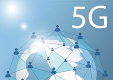 la linea globale del poligono di vettore 5G collegare il contrassegno mobile dell'icona di Wi-Fi e di dati modella la mappa di mo royalty illustrazione gratis