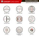 La linea icone di concetto ha fissato la fisica 6 Immagini Stock