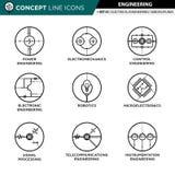 La linea icone di concetto ha messo 01 che costruiscono Immagine Stock Libera da Diritti
