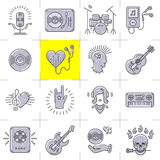 La linea icone di musica di arte messe oscilla i simboli punk Fotografie Stock Libere da Diritti