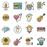 La linea icone di musica di arte messe oscilla i simboli punk di jazz illustrazione vettoriale