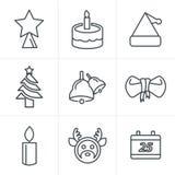 La linea icone di stile delle icone ha fissato il Natale Fotografia Stock