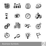 La linea icone di vettore ha messo dei simboli di affari nella progettazione approssimativa e dentellata unica Fotografie Stock