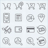 La linea icone di vettore ha messo per web design e l'interfaccia utente Fotografia Stock