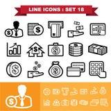 La linea icone ha messo 18 Immagine Stock