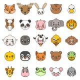 La linea icone piane della testa di progettazione del bambino degli animali di arte dei cuccioli svegli del fumetto ha messo l'il Fotografia Stock
