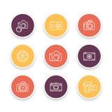 La linea le icone, il dslr, il diaframma, la fotografia, pittogramma della macchina fotografica della macchina fotografica, color illustrazione vettoriale