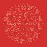 La linea le icone, il giorno del biglietto di S. Valentino di biglietti di S. Valentino firma i simboli di amore Cerchio Infograp illustrazione di stock