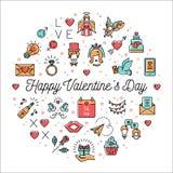 La linea le icone, il infographics del cerchio, il giorno del biglietto di S. Valentino di biglietti di S. Valentino firma i simb illustrazione vettoriale