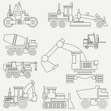 La linea macchinario di costruzione piano dell'icona di vettore ha messo con il bulldozer, gru, camion, escavatore, carrello elev illustrazione di stock