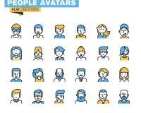 La linea piana icone ha messo degli avatar alla moda della gente Immagine Stock