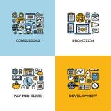 La linea piana icone ha messo di consulto, la promozione, paga per clic Fotografie Stock