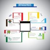La linea piana legata al mercato icone di infographics ha messo - il vect di concetto Fotografie Stock