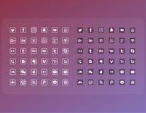 La linea piana media sociali popolari dell'icona ha messo il pacchetto completo illustrazione di stock