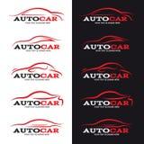 La linea rossa logo dell'automobile è un fondo di 5 stili in bianco e nero Fotografia Stock