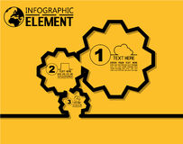 La linea semplice modello di Infographic di stile con i punti parte l'ingranaggio di opzioni Fotografia Stock Libera da Diritti