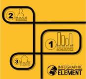 La linea semplice modello di Infographic di stile con i punti parte le opzioni Fotografie Stock