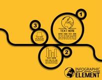 La linea semplice modello di Infographic di stile con i punti parte le opzioni Immagine Stock Libera da Diritti