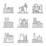 La linea sottile della centrale elettrica e della fabbrica dell'industria pesante vector le icone Immagini Stock Libere da Diritti