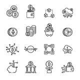 La linea sottile icona di Cryptocurrency ha messo 4, il vettore eps10 royalty illustrazione gratis