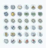La linea sottile icone di colore piano di vettore ha messo con i simboli del profilo di finanza e di attività bancarie Immagine Stock Libera da Diritti