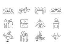 La linea sottile icone di team-building di lavoro di squadra di affari funziona il vettore di concetto delle risorse umane del pr royalty illustrazione gratis