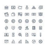 La linea sottile icone di vettore ha messo con i simboli del profilo di finanza e di attività bancarie Fotografia Stock
