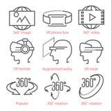 La linea sottile icone di vettore ha messo con le icone di vista di 360 gradi, le attrezzature di realtà virtuale e gli accessori fotografia stock
