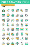 La linea sottile moderna icone messe delle feste offre, informazioni sulle destinazioni, i tipi di trasporti, facilità dell'hotel Fotografia Stock Libera da Diritti
