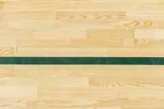 La linea verde sul pavimento della palestra per assegna la corte di sport Volano, Futsal, pallavolo e campo da pallacanestro immagini stock