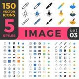 La linea web mobile isometrico piano di immagine 150 della foto si siede Immagini Stock Libere da Diritti