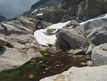 La lingua della neve della montagna con i massi innaffia la corrente e l'erba verde fotografia stock libera da diritti