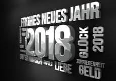 La lingua tedesca per il nuovo anno 2018 3d rende Fotografia Stock