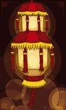 La linterna china hermosa del ` s del palacio aligera la noche con el efecto de Bokeh, ejemplo del vector ilustración del vector