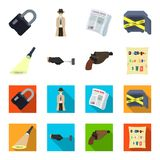 La linterna detective ilumina la huella, la mano criminal con la llave principal, una pistola en la pistolera, libre illustration