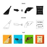 La linterna detective ilumina la huella, la mano criminal con la llave principal, una pistola en la pistolera, ilustración del vector