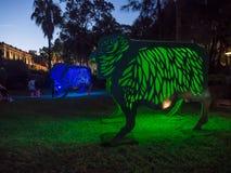 La linterna lunar 'que la oveja 'es símbolo del zodiaco de ovejas será iluminada de oscuridad en Quay circular fotografía de archivo libre de regalías