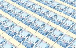 La lira turca carga en cuenta el fondo de las pilas Fotos de archivo