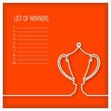 La lista de ganadores con el ganador doble-dio la taza Fotografía de archivo libre de regalías