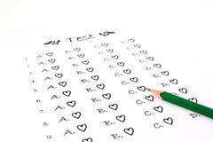 La lista y el lápiz de la prueba Imágenes de archivo libres de regalías