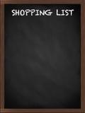 La liste d'achats se connectent le tableau noir Photos libres de droits