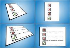 La liste d'options fausses de case à cocher a suivi d'une bonne option de case à cocher écrite sur le papier - vue de point de vue Photographie stock libre de droits