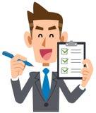 La liste de contrôle d'homme d'affaires confirment le succès de sourire illustration stock