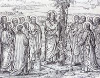 La lithographie de Jésus comme tige de raisin photo libre de droits