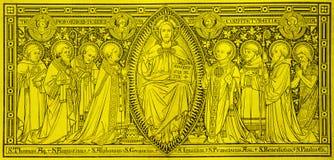 La lithographie de Jesuts parmi des saints images libres de droits
