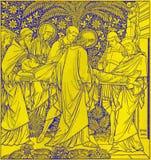 La lithographie de l'enterrement de Jésus dans Missale Romanum par l'artiste inconnu avec les initiales F M S 1885 photos libres de droits