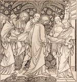 La lithographie de l'enterrement de Jésus dans Missale Romanum par l'artiste inconnu avec les initiales F M S 1885 images libres de droits
