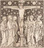 La lithographie de la crucifixion dans Missale Romanum par l'artiste inconnu avec les initiales F M S 1892 images libres de droits