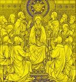 La lithographie de la Pentecôte dans Missale Romanum par l'artiste inconnu avec les initiales F M S 1889 photographie stock